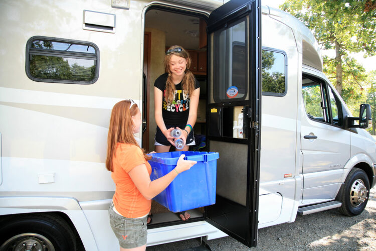 teens recycling in rv