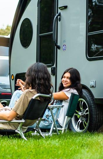 girls with teardrop trailer